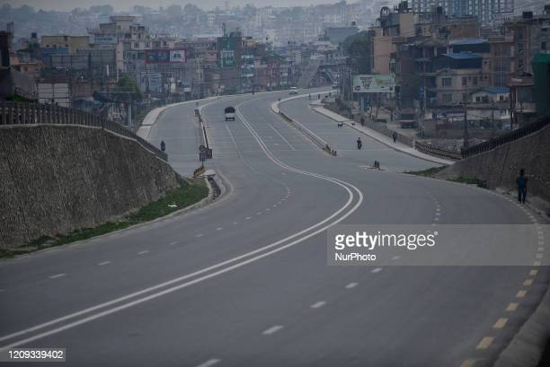 View of empty Road highway during the complete nationwide lockdown as concerns about the spread of Corona Virus at Lalitpur, Nepal on Monday, April...