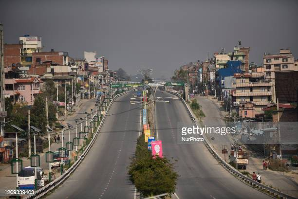 View of empty Road highway during the complete nationwide lockdown as concerns about the spread of Corona Virus at Bhaktapur, Nepal on Monday, April...