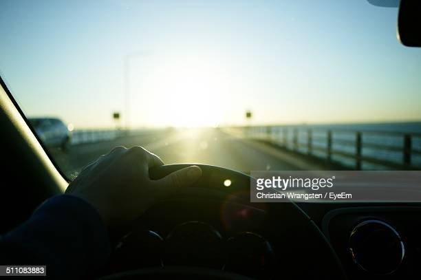 View of empty road through car windscreen