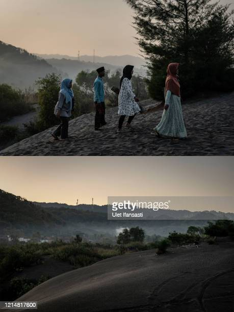 In this composite image a comparison has been made between a scene in 2019 and 2020 YOGYAKARTA INDONESIA MAY 24 A view of empty 'sea of sands' at...