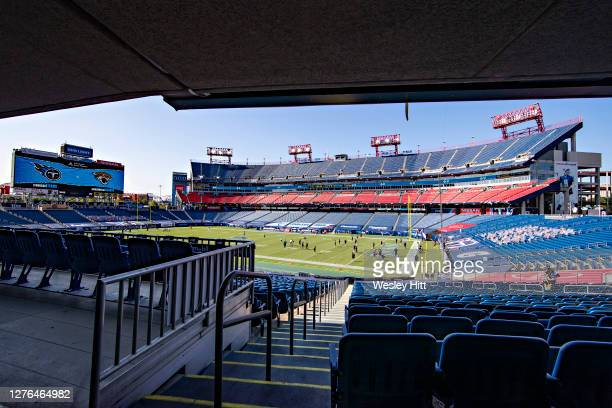 View of empty seats as the teams warm up before a game between the Jacksonville Jaguars and the Tennessee Titans at Nissan Stadium on September 20,...
