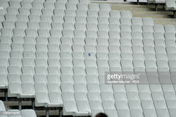 View of empty seats due to the Coronavirus pandemic social distancing during the French League Cup final match between Paris Saint-Germain and...