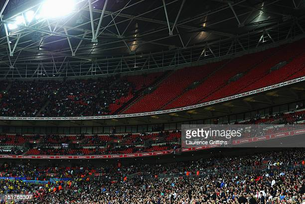 A view of empty seats during the FIFA 2014 World Cup Group H qualifying match between England and Ukraine at Wembley Stadium on September 11 2012 in...