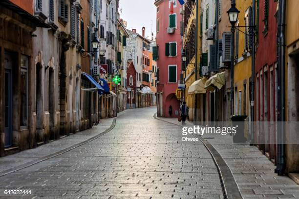 View Of Empty Shopping/Main Street Early Morning In Old Town Rovinj