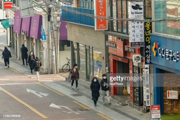View of empty street scene on Dongsungro district in Daegu, South Korea. South Korea's daily new coronavirus cases fell below 1,000 for the second...