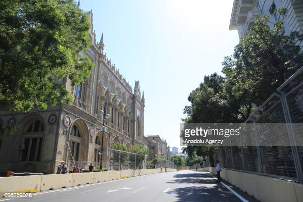 A view of empty streets after it was pedestrianized and turned into a track ahead of 2017 Formula 1 Azerbaijan Grand Prix which will be held on June...