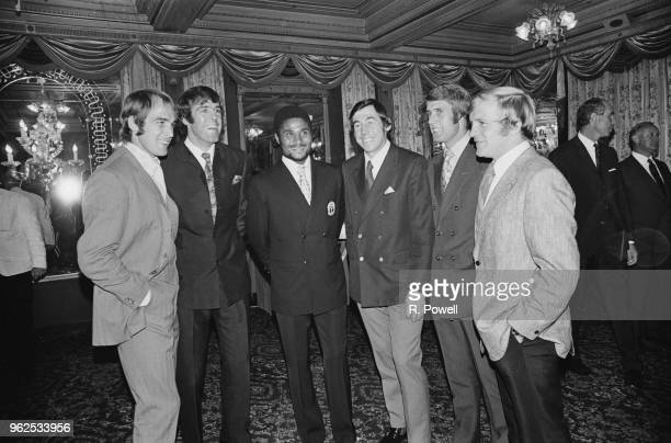 View of English and international professional footballers pictured together at the Rothmans Golden Boot Awards in London on 9th October 1970 The...