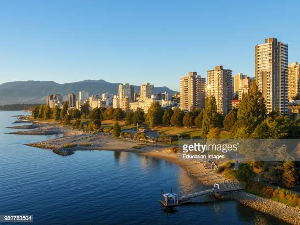 View of English Bay shoreline Vancouver British Columbia Canada
