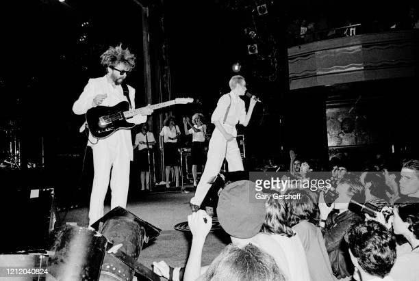 View of English musician Dave Stewart on guitar and Scottish musician Annie Lennox both of the group Eurythmics performs onstage at the Ritz New York...