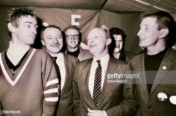 View of English politicians Ken Livingstone and Neil Kinnock , with musicians, Paul Weller , Glenn Gregory , and Billy Bragg , and actor & comedian...