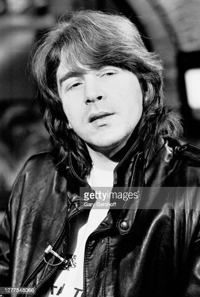View of English Rock and Blues musician Mick Taylor during an interview at MTV Studios, New York, New York, January 19, 1983.