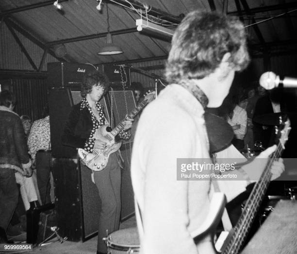View of English rock band Cream performing live on stage at the Barbeque 67 music festival at the Tulip Bulb Auction Hall in Spalding Lincolnshire on...
