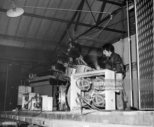 View of English rock band Pink Floyd performing live on stage at the Barbeque 67 music festival at the Tulip Bulb Auction Hall in Spalding...