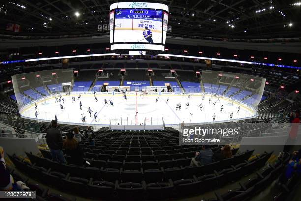 View of Enterprise Center during player warmups before an NHL game between the San Jose Sharks and the St. Louis Blues on January 20 at Enterprise...
