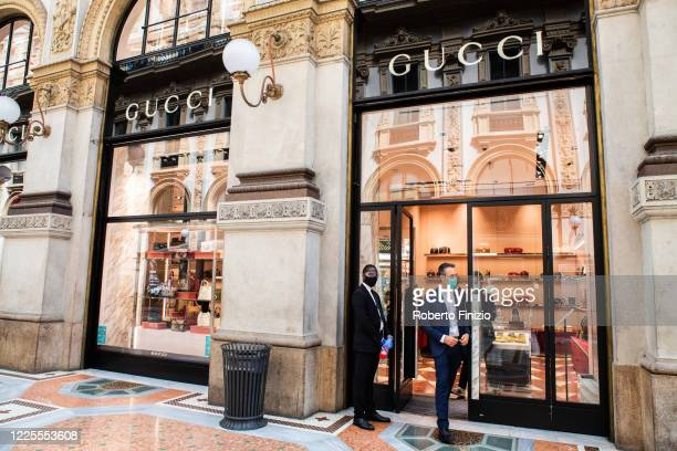 View of entrance of Gucci shop in Galleria Vittorio Emanuele on the first day of reopening after the lockdown on May 18, 2020 in Milan, Italy....