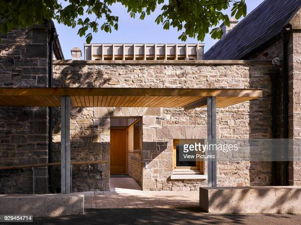View of entrance to old school building. Inchicore Model School, Inchicore, Ireland. Architect: Donaghy and Dimond Architects, 2015.