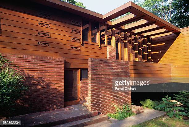 View of Entrance to the Gregor Affleck House by Frank Lloyd Wright