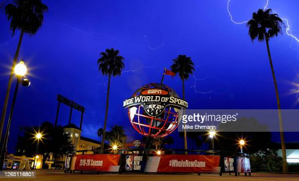View of ESPN Wide World Of Sports Complex during a lightning storm following a game between the Phoenix Suns and Milwaukee Bucks at The Field House...