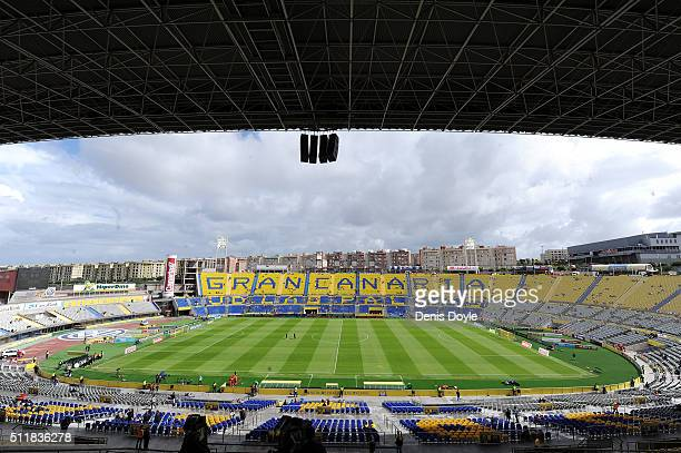 View of Estadio Gran Canaria ahead of the La Liga match between UD Las Palmas and FC Barcelona at Estadio Gran Canaria on February 20 2016 in Las...