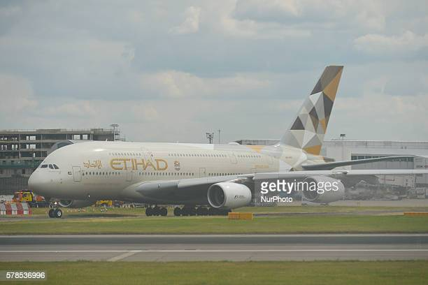 A view of Etihad Airways plane a flag carrier and the secondlargest airline of the United Arab Emirates at London Heathrow Airport On Thursday 21...