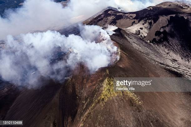 View of Etna's summit craters from a helicopter of the Air Base, Air Nucleus and Helicopter Flight Section of the Catania Coast Guard, with personnel...