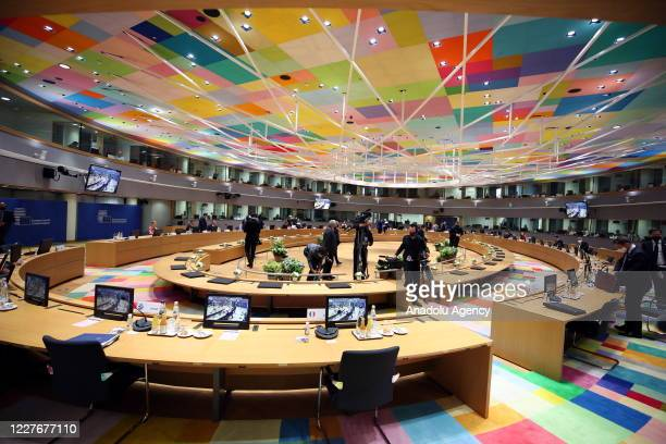 View of EU summit to discuss EU's long-term budget and coronavirus recovery plan in Brussels, Belgium on July 18, 2020.