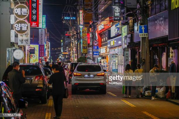 View of evening scene after Corona Virus Pandemic at Main district in Daegu-City, South Korea, on September 16, 2020. South Korea's new virus cases...