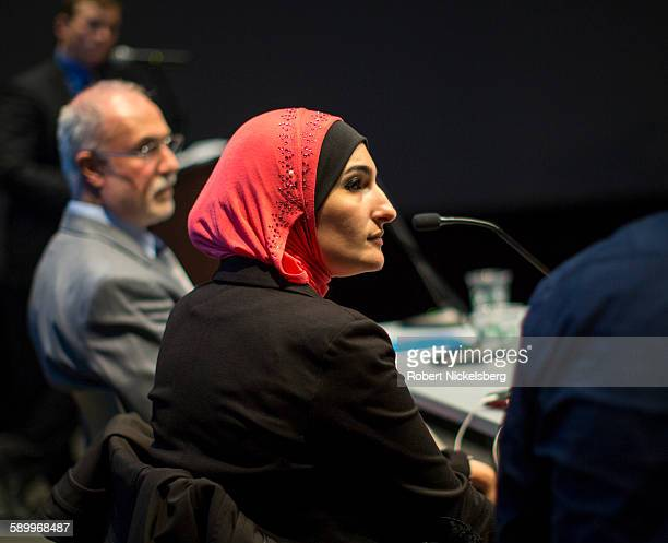 View of Executive Director of the ArabAmerican Association of New York Linda Sarsour during the 'Life after Surveillance in Bay Ridge's Muslim...