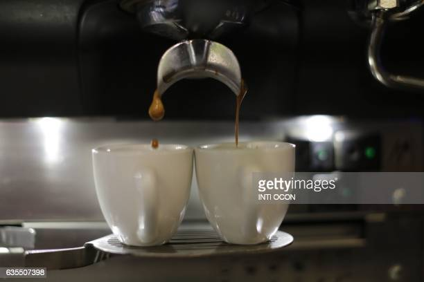 View of expresso coffee in a store in Matagalpa some 130km from Managua on February 10 2017 The 'robusta' coffee which is expanding in the fields of...