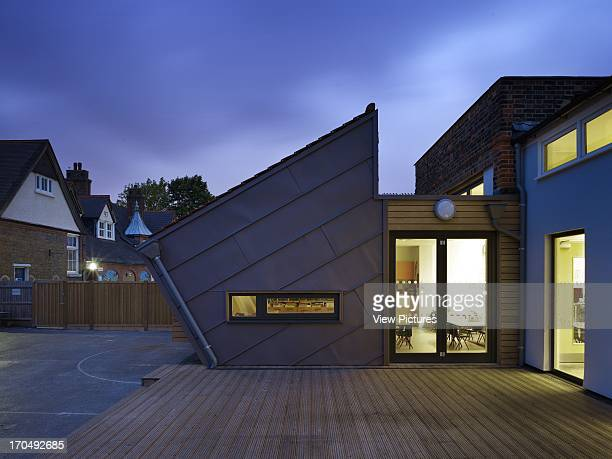 View of extension from walkway decking Dulwich Village Infant School London United Kingdom Architect Cazenove Architects 2012