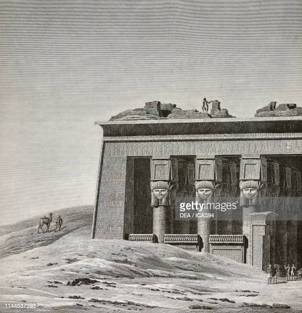View of facade of Hathor Temple, detail, Dendera Temple complex, Egypt, engraving by Sellier after a drawing by Cecile, from Description de l'Egypte,...