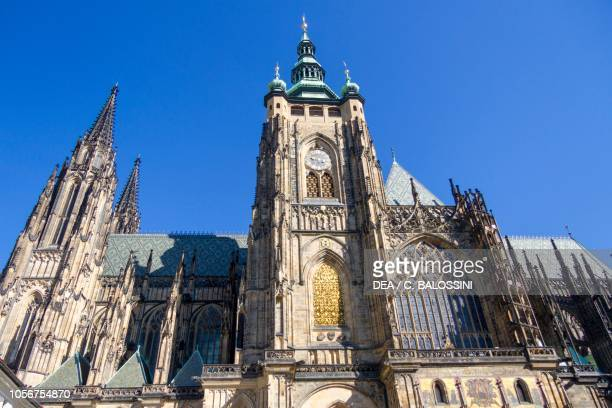 View of facade of St Vitus cathedral , Prague , Czech Republic. Detail.