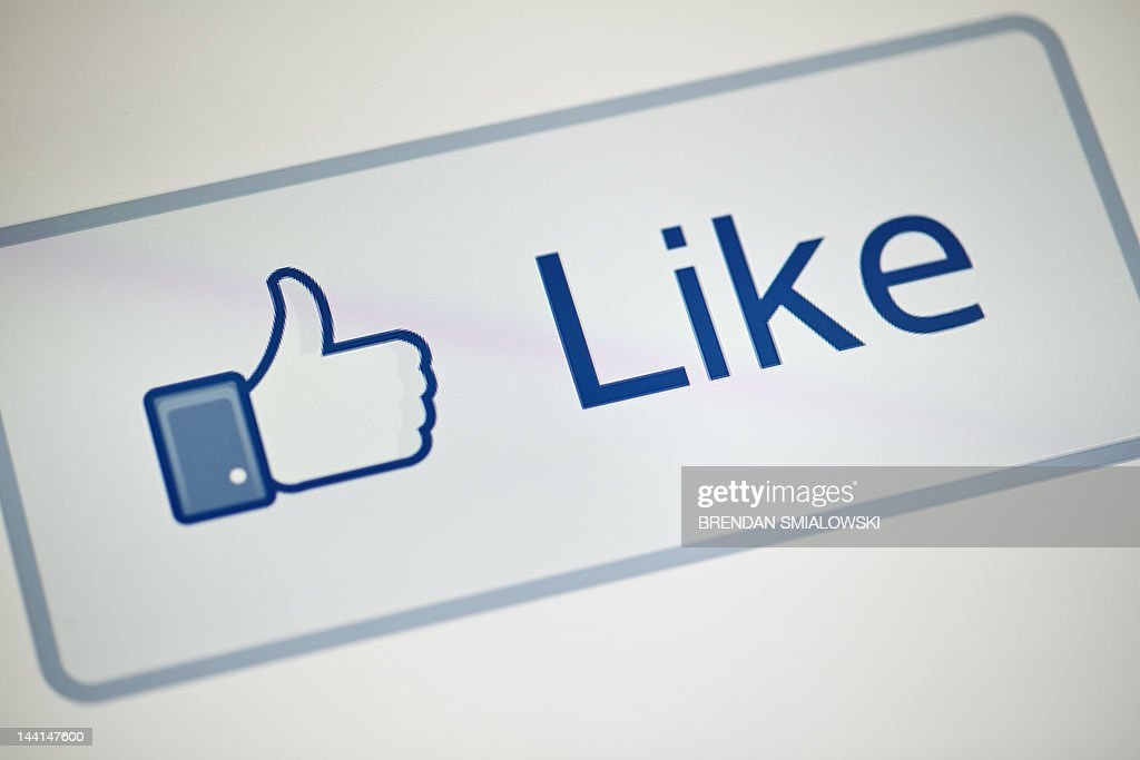 A view of Facebook's 'Like' button May 10, 2012 in Washington, DC. Social-networking giant Facebook will go public on the NASDAQ May 18 with its initial public offering, trading under the symbol FB, in an effort to raise $10.6 billion.