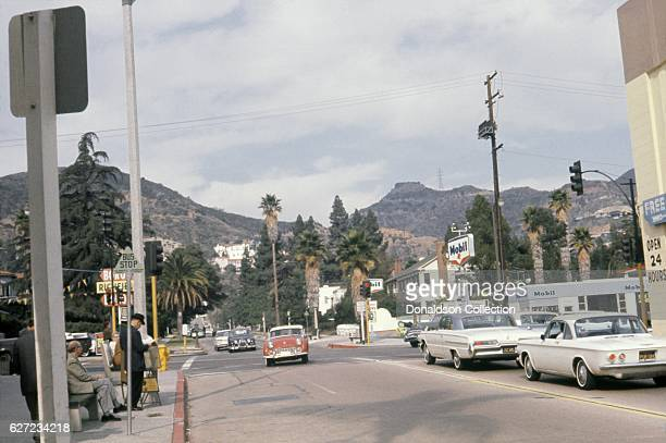 A view of Fairfax Avenue looking north from the intersection of Fairfax and Sunset Boulevard in December 1963 in Los Angeles California