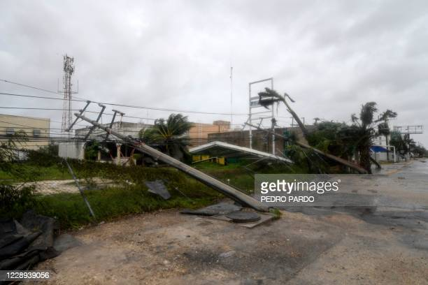 View of fallen power lines and trees after the passage of Hurricane Delta in Cancun Quintana Roo state Mexico on October 7 2020 Hurricane Delta...