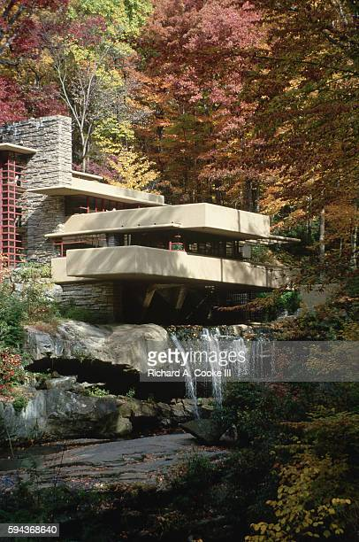 A view of Falling Water a house created by the famous architect Frank Lloyd Wright Pennsylvania USA
