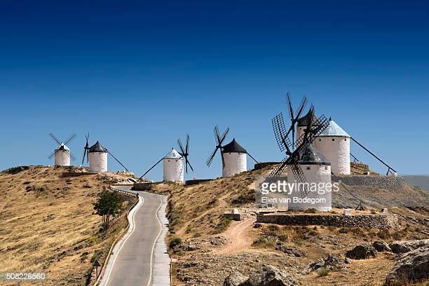 View of famous Don Quixote windmills in Consuegra, Spain