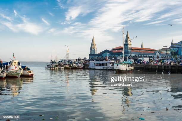 view of famous ver o peso market with boats on river - para state stock photos and pictures