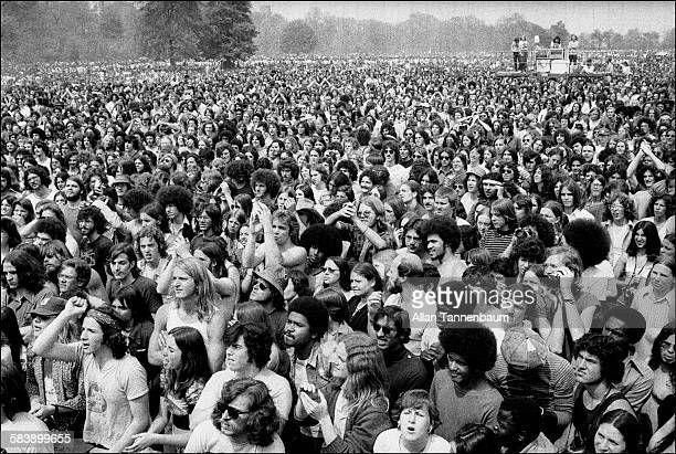 View of fans at a performance by Jefferson Starship in Central Park New York New York May 1975