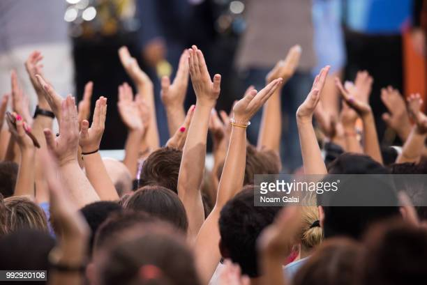 A view of fans clapping at ABC's 'Good Morning America' at Rumsey Playfield Central Park on July 6 2018 in New York City