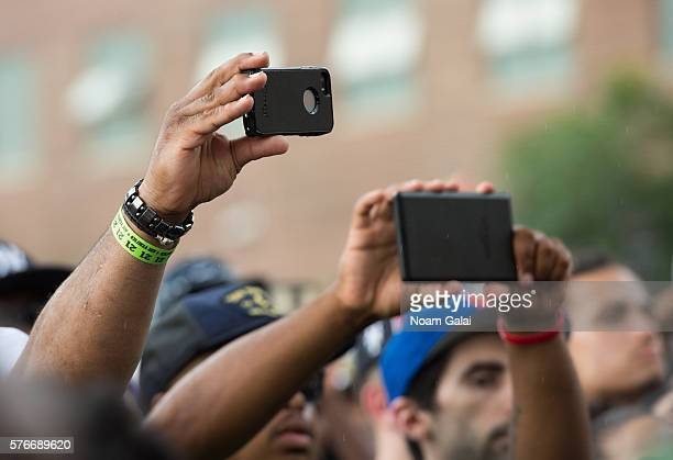 A view of fans holding up phones during the 12th Annual Brooklyn Hip Hop Festival finale concert at Brooklyn Bridge Park on July 16 2016 in New York...