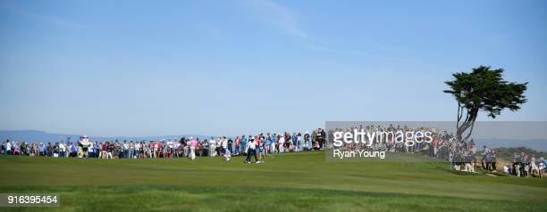 A view of fans lining the 14th green during the second round of the ATT Pebble Beach ProAm at Pebble Beach Golf Links on February 9 2018 in Pebble...