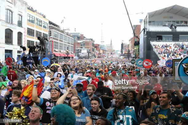 A view of fans on Broadway during the first round of the 2019 NFL Draft on April 25 at the Draft Main Stage on Lower Broadway in downtown Nashville TN