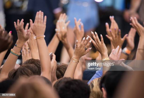 A view of fans waving at ABC's 'Good Morning America' at Rumsey Playfield Central Park on July 6 2018 in New York City