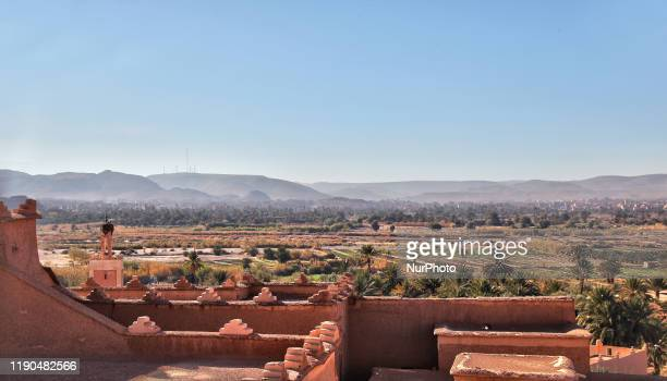 View of farmland from the rooftop of the historic Taourirt Kasbah located in the Atlas Mountains in Ouarzazate, Morocco, Africa on 4 January 2016....