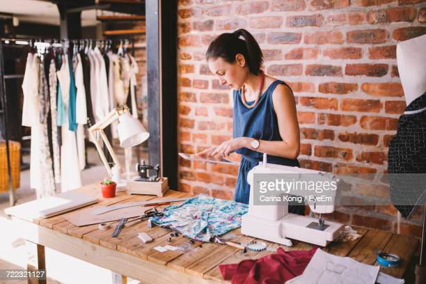 View Of Fashion Designer Working