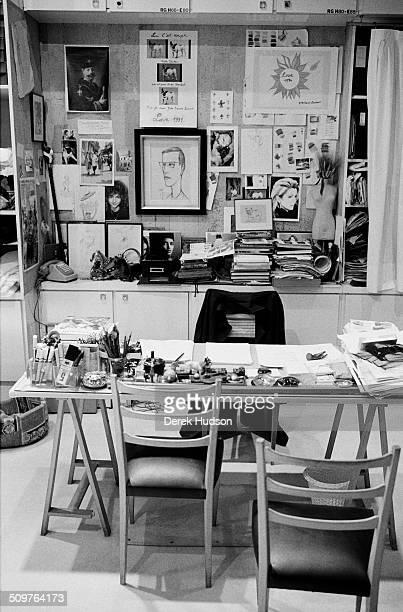 View of fashion designer Yves Saint Laurent's desk in his office on Avenue Montaigne Paris France 2005