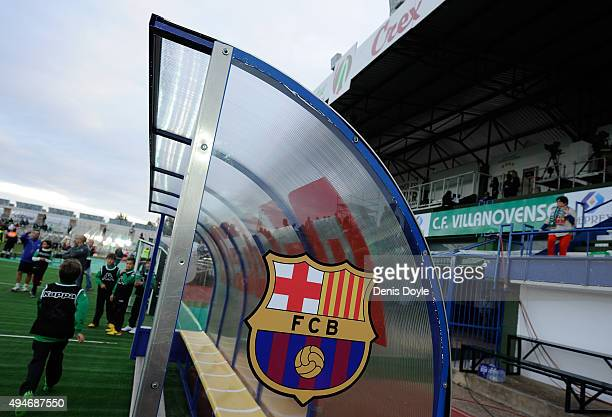 View of FC Barcelona's emblem on the dugout ahead of the Copa del Rey Last of 16 First Leg match between CF Villanovense and FC Barcelona at estadio...
