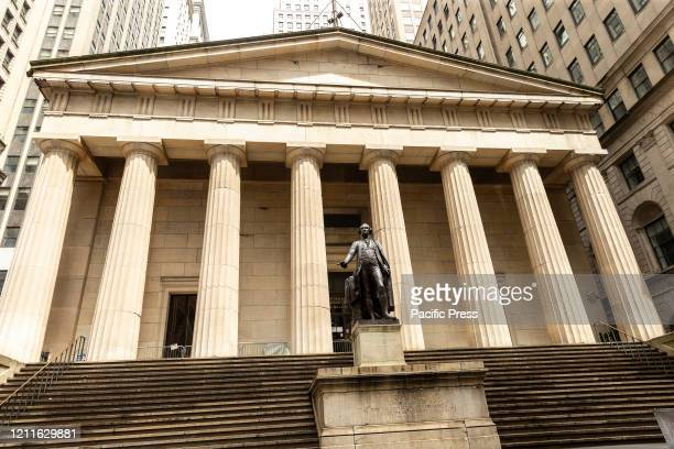View of Federal Reserve Bank of New York during COVID-19 pandemic.