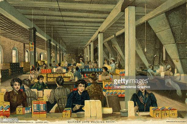 View of female workers packing boxes of oats for the Quaker Oats brand company, Chicago, 1890s. The advertisement served to illustrate the fine...